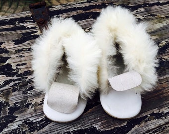 Vintage Leather Child's Shoes with Rabbit Fur Trim