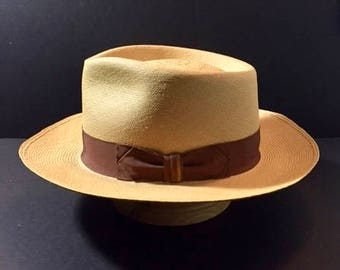 Hand Blocked Cocoa Panama hat Size 7 3/8 or 59 cm