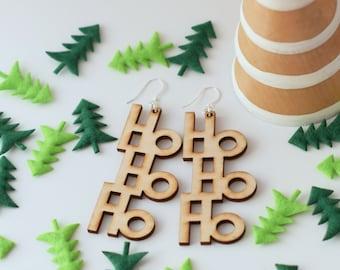 Christmas Earrings HoHoHo - Laser cut wooden earrings