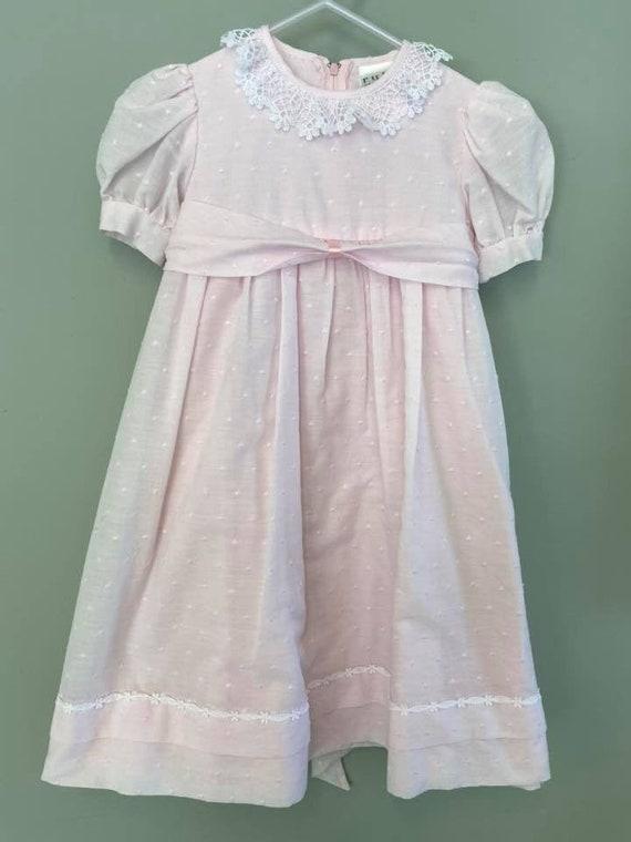 Vintage Ruth of Carolina Pink Swiss Dot dress Size