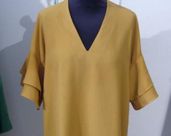 Mustard Crepe Straight Dress.