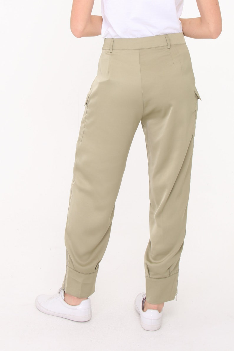 Black Satin Jersey Cargo Pants.