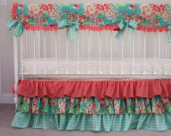 clothing Amy Butler pillowcase girl kids coral designer blue Love Bliss Bouquet Dress with Ruffle by Cheryls Bowtique  poppies