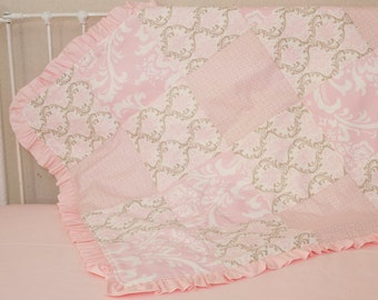 Pink and Taupe Damask Patchwork Baby Blanket with Pink Ruffles