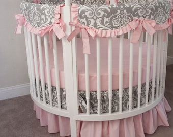 Baby Girl  Round Crib Cot Bedding Set - Gray White Damask Light Pink