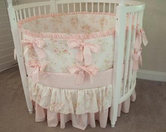 Round Crib Baby Girl Bedding Set  Vintage Floral Shabby Chic Baby Pink Antique Cream Ivory Cream Nursery