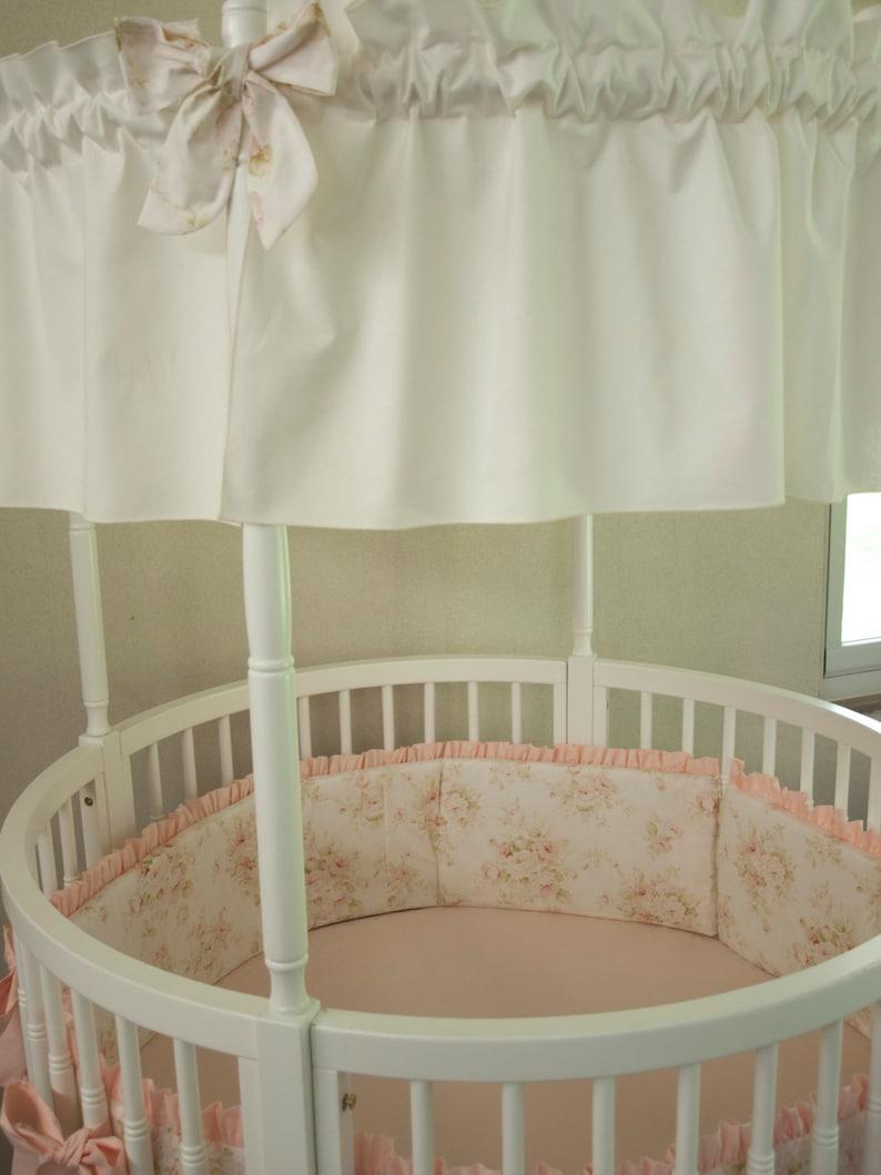 Round Crib Baby Girl Bedding Vintage Floral Shabby Chic