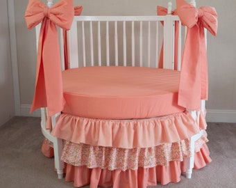Baby Girl Round Crib Bedding Set  with Decorative Large Crib Bows - Metallic Gold, Pearlized Mint Dots, Coral  - Gold and Coral Nursery