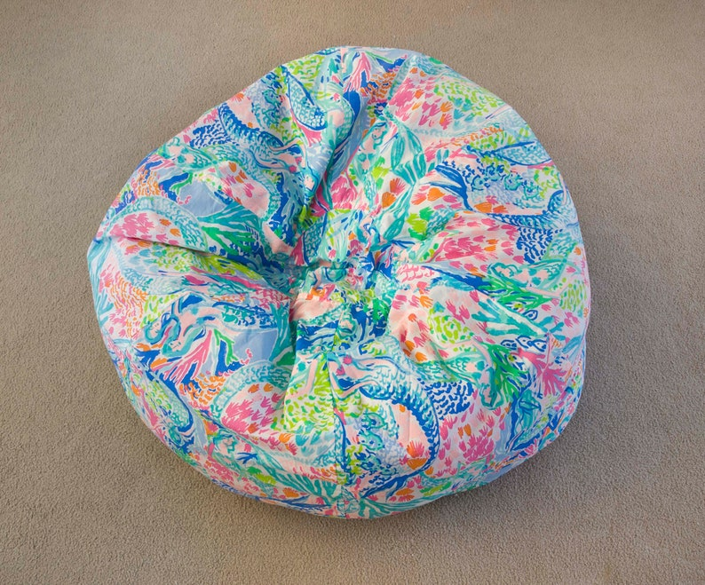 Admirable Beanbag Slipcover Kids Toddler Room Accessories Flamingo Hot Pink Lime Turquoise Aqua Made With Mermaid Cove Lilly Pulitzer Fabric Uwap Interior Chair Design Uwaporg