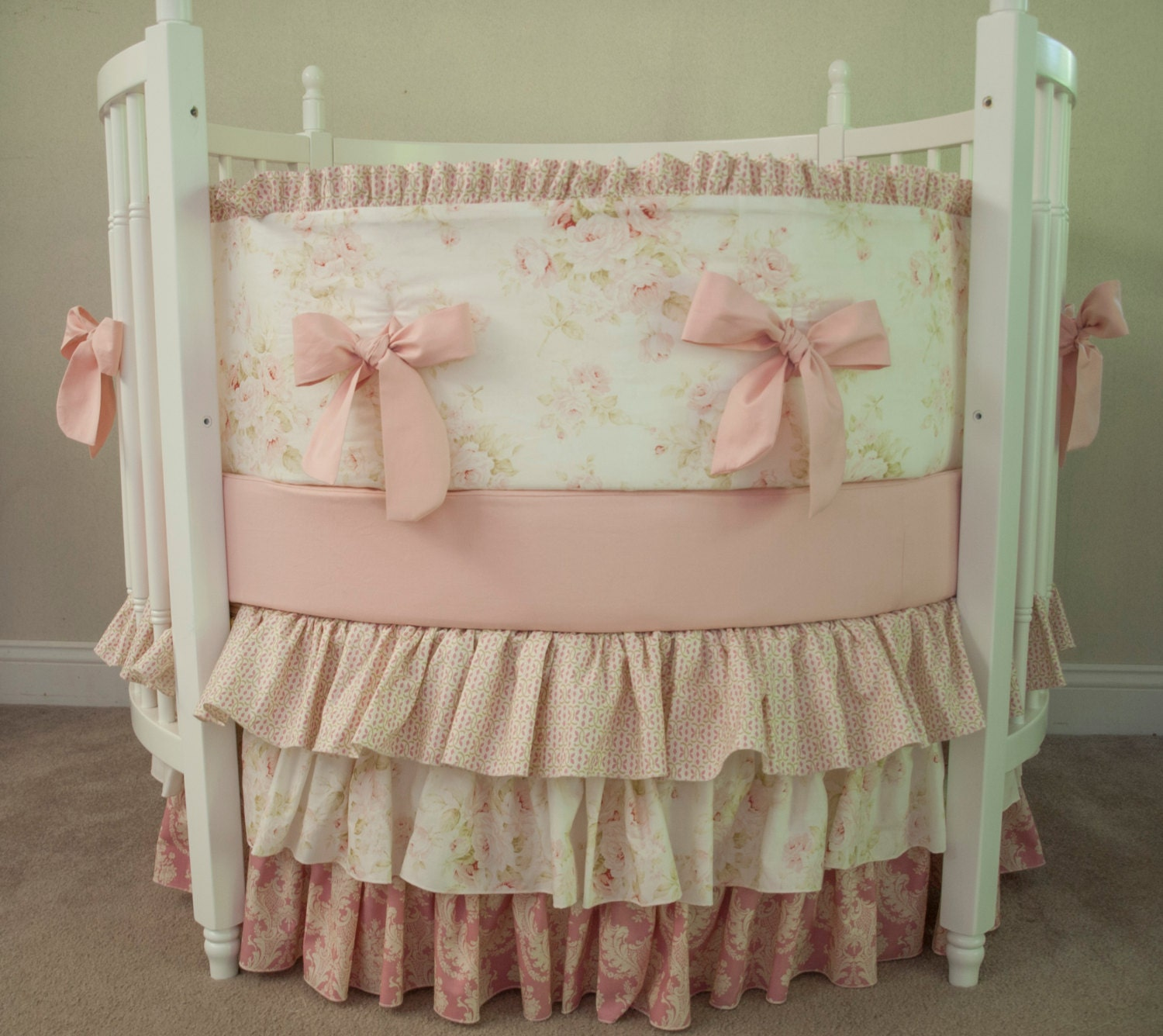Round Crib Baby Girl Bedding Vintage Floral Shabby Chic