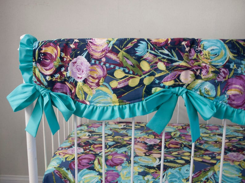 Midnight Floral Aqua  Blue Purple Plum Violet Gray Bumperless Baby Crib Cot Bedding with Ombre Skirt