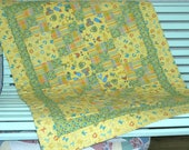 Yellow Green crib quilt, Hand quilted Vintage style Baby 39 s first quilt, Baby Quilt, Baby Shower Gift, Baptism Gift, child throw, nap throw