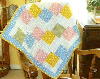 Baby Quilt, Colorful pastel Polka Dot Quilt, Baby blanket Baptism gift, Keepsake quilt, Stroller Pad Small Quilt boy girl quilt baby bedding