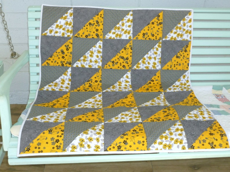 Small Quilt Yellow and Gray Crib Quilt Baptism gift Keepsake quilt Home decor quilt small throw baby bedding Stroller Pad Small Quilt