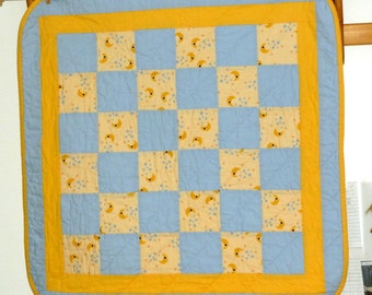 Yellow and Blue Moons Stars Quilt Baby blanket, crib quilt, Baptism Keepsake quilt, Stroller Pad, Small Quilt boy girl quilt, baby bedding