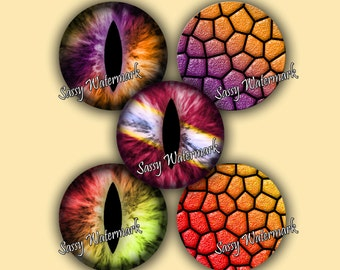 SALE! Dragon Eyes & Scales 1 Inch Circles Collage Sheet