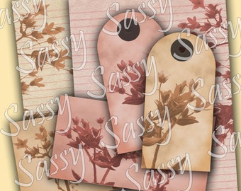 Vintage Tags Collage Sheet Mini Journal Kit for Journals or Mini Albums