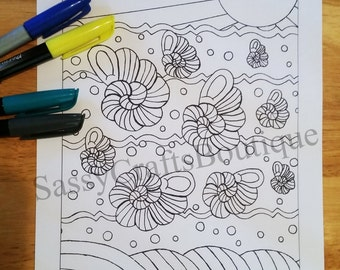Seashells in Ocean Adult Coloring Page Instant Download and Print