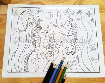Seahorses Whimsical Sea Adult and Kids Coloring Page