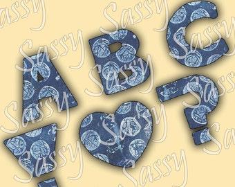 Blue Bubblewrap Mixed Media Letters Alphabet Digital Collage Sheet