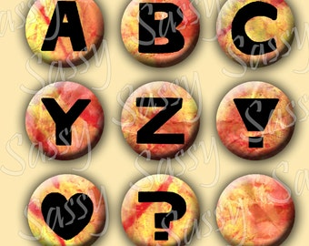 Alphabet Letters Mixed Media Orange Yellow Texture 1 Inch Buttons Bottle Caps