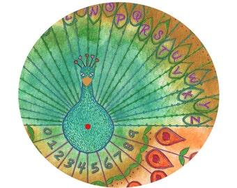 Printable Peacock Dowsing Board (Pendulum Board) Hand drawn Digital