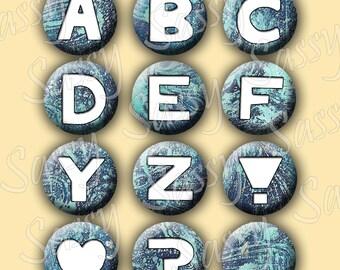 Alphabet Letters Blue Grunge Texture 1 Inch Buttons Circles Bottle Caps