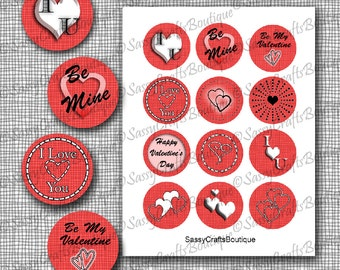 Valentines Day Cupcake Toppers Stickers Circles 2 Inch
