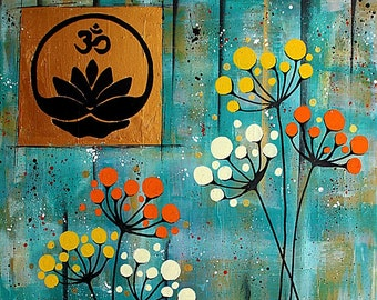 "Painting on canvas ""Om and abstract flowers"""
