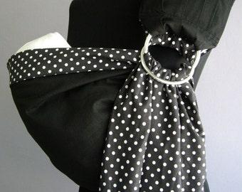 c3f3cea2786b Bébé Sling Ring   anneau de Black bébé bébé sling support sling réversible bébé  bébé écharpe Wrap Polka dot