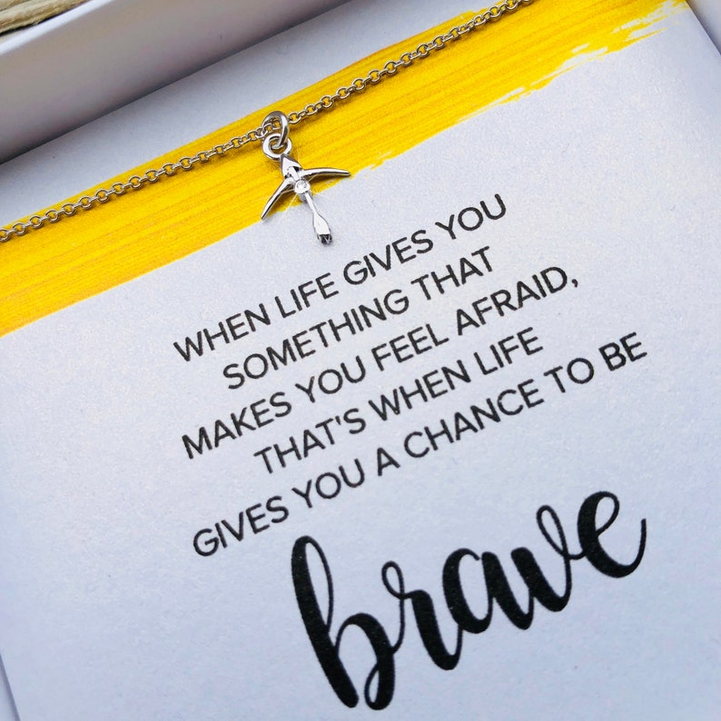 Be Brave Necklace: bow and arrow bravery tween teen youth boxed sterling  silver inspirational encouragement bible verse necklace