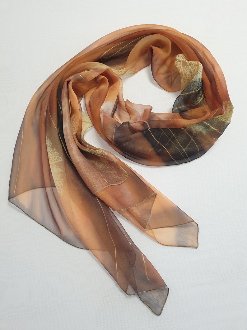 Hand-painted 100/% Silk Scarf shawl throw Abstract honey brown White Skeleton Leaf print Personalized Gift one-of-a-kind Original  SC014