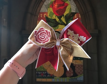 Belle Tale as Old as Time Beauty and the Beast Inspired Cheer Bow