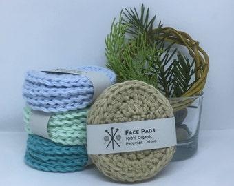 Organic Cotton Crochet Face Pads, Zero Waste, Makeup Removal