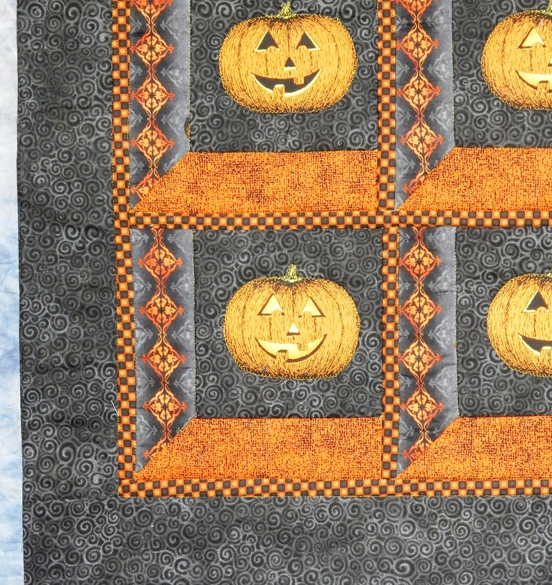 Halloween Table Topper Throw Wall Hanging in Laurel Burch and Jason Yenter Fabric