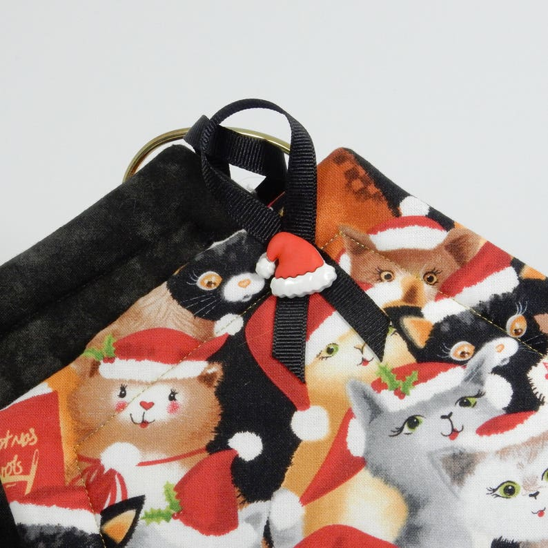 Pot Holders Hot Pads Set of Two Cats Kitties in Santa Hats