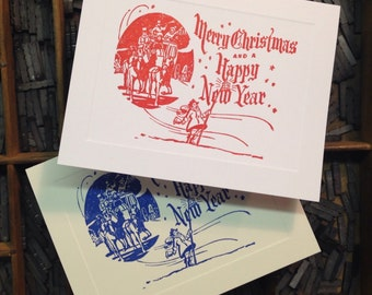 "Letterpress Christmas Cards ""Merry Christmas and Happy New Year"" - Set of 10 cards with matching envelopes"
