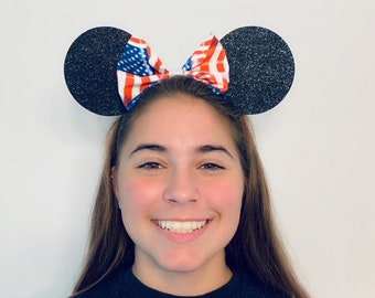 USA Flag Minnie Mouse Bow Ears Headband American   Nonslip Running Headband for Costume   Disney Ears