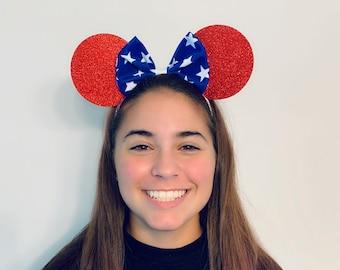 USA Stars Minnie Mouse Bow Ears Headband American   Nonslip Running Headband for Costume   Disney Ears