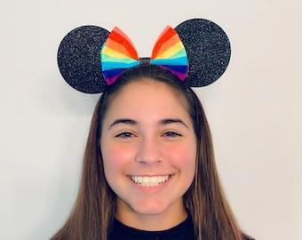 Rainbow Stripe Minnie Mouse Bow Ears Headband Pride   Nonslip Running Headband for Costume   Disney Ears