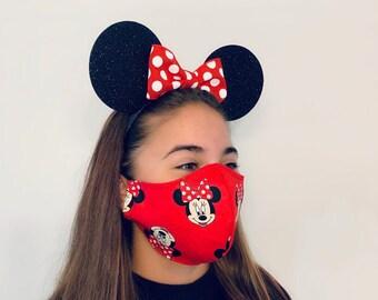 Minnie Mouse Bow Ears & Mask Combo   Headband Face Mask   Nonslip Running Costume   Disney Ears