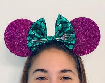 Nonslip Ariel/Minnie Mouse Bow Ears Headband Little Mermaid   Athletic Running Headband for Costume   Disney Ears