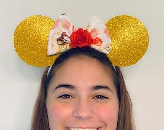 Belle Princess Minnie Mouse Bow Ears Headband Beauty   Nonslip Running Headband for Costume   Disney Ears
