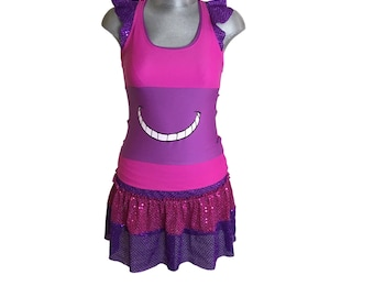 Cheshire Cat skirt, racer back running shirt with ruffles and optional Cheshire Cat arm sleeves