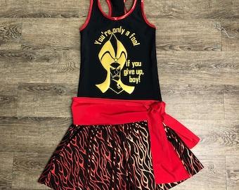Disney Jafar from Alladdin Running Villain Costume   Sparkly Athletic Costume