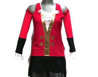 Captain Hook Pirate Tinkerbell Running Costume shirt and skirt OPTIONAL Captain Hook Arm Sleeves