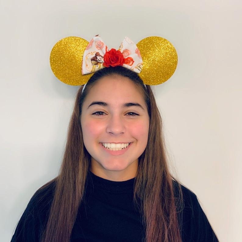 Disney Ears Belle Princess Minnie Mouse Bow Ears Headband Beauty Nonslip Running Headband for Costume