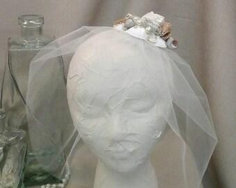 Beach Wedding  Seashell Blusher  Veil