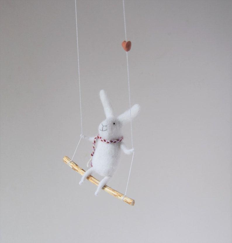 White  Needle Felted Bunny- Needle Felted Nursery Mobile Nursery Decor White Bunny Mobile Bunny Mobile -Baby mobile