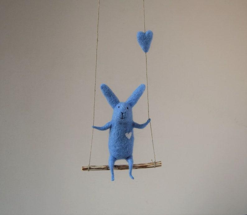 9625b0f5688e Blue Bunny on swing Felt Animal Nursery Decoration Blue